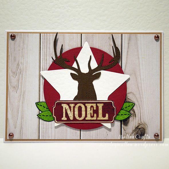 Red and woodgrain Christmas card