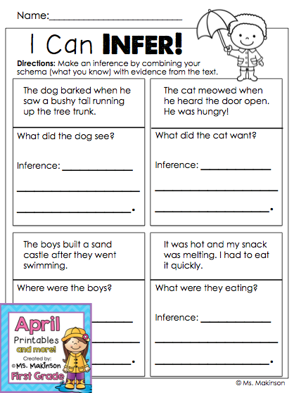 April Printables First Grade Literacy And Math Making Inferences