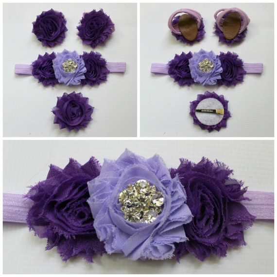 SALE Spring headband barefoot sandal set, Hairclip, baby bow, Pretty in Purple accessories, baby, infant, toddler, child, bling