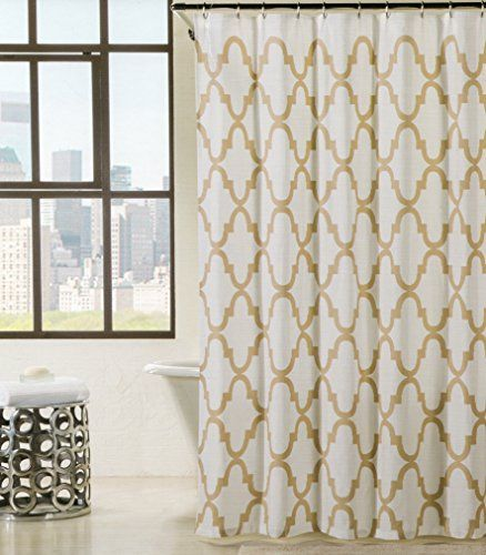 Max Studio Home Cotton Shower Curtain Moroccan Tile Quatrefoil Tan Beige And White Lattice 72