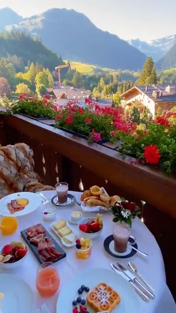 Breakfast is served in The Alpina Gstaad