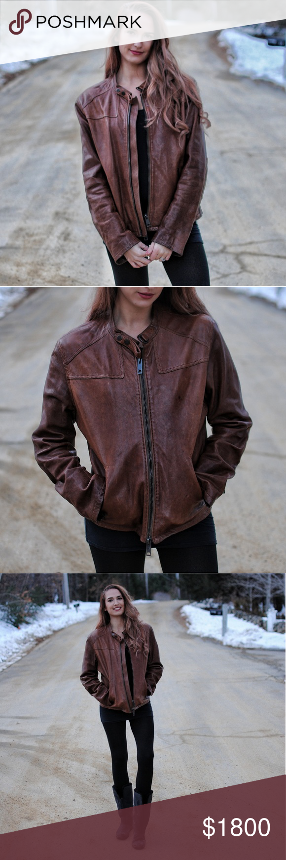 Authentic Burberry Lambskin Leather Moto Jacket So the