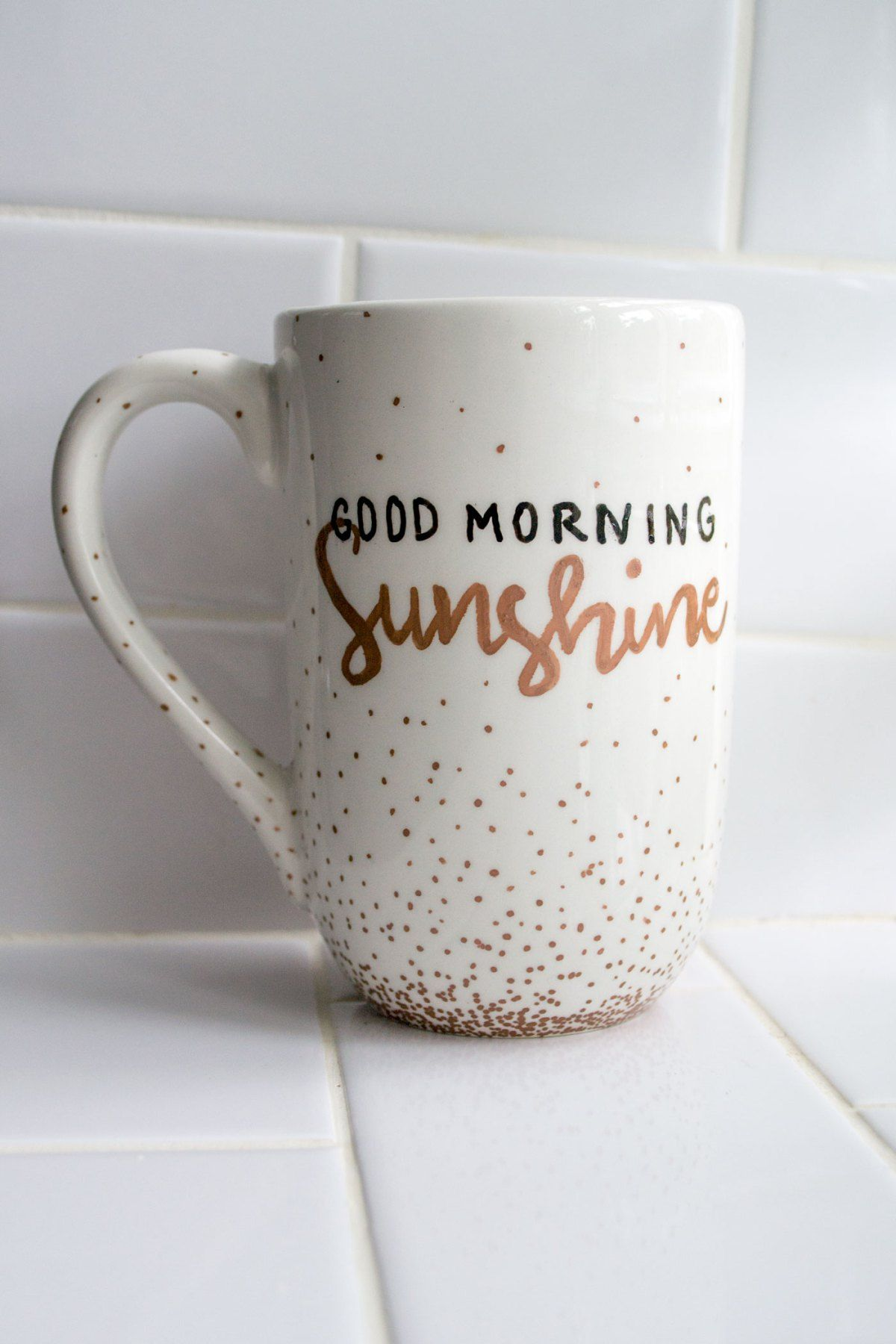 good morning sunshine diy hand painted coffee mug