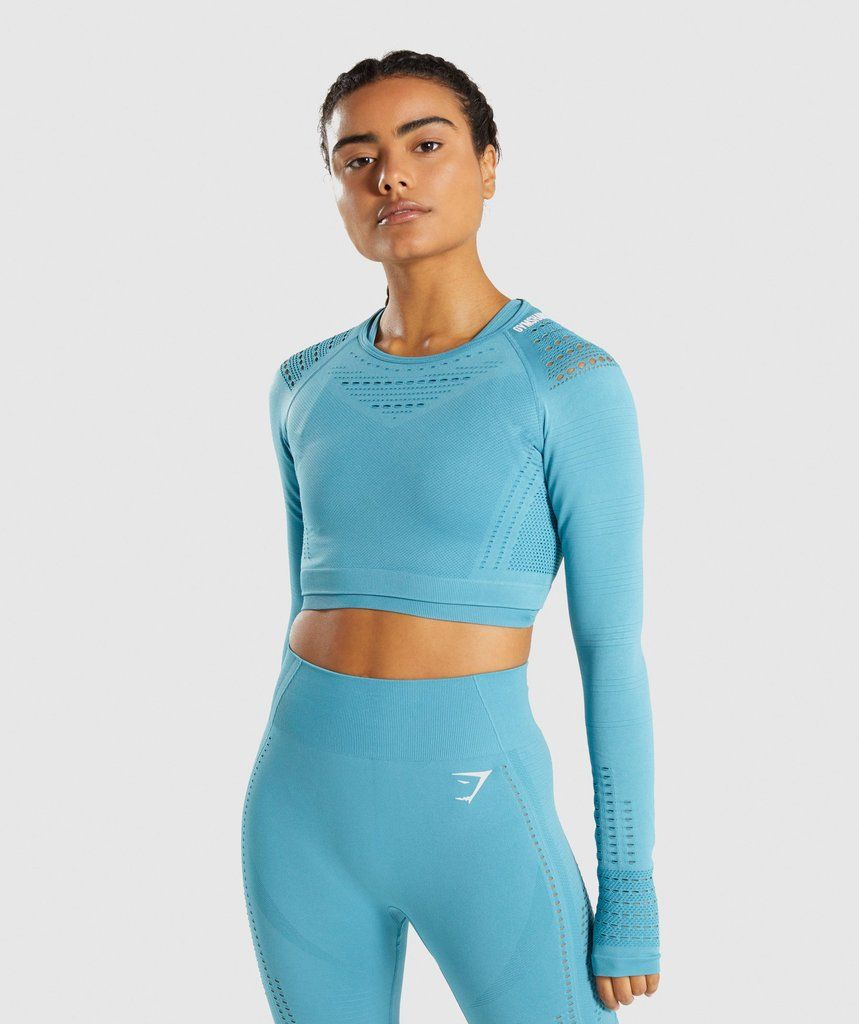 95100a04c9b03 Gymshark Flawless Knit Long Sleeve Crop Top - Sea Blue 1