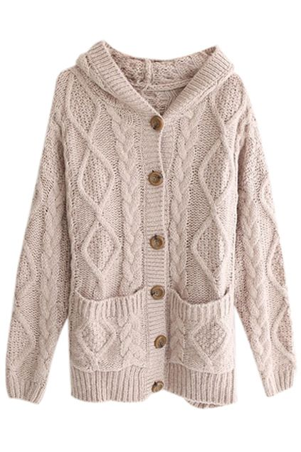 Hooded Pocketed Cable Knit Light Coffee Cardigan | { my style ...