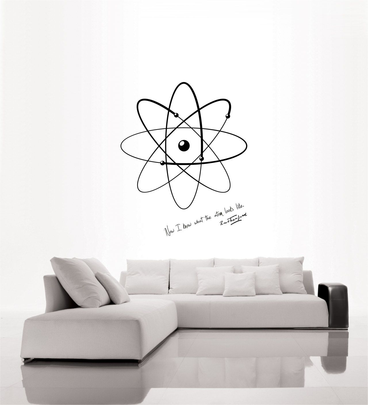Science art physics Rutherford quote and model of atom