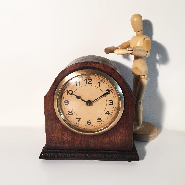 Art deco wooden mantle clock curved oak wood brass