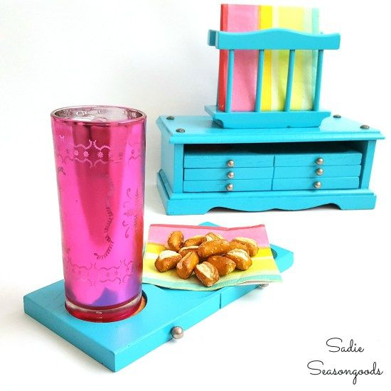 DIY thrift store makeover project with a vintage wooden furniture coaster set and napkin holder repurposed as a snack station by Sadie Seasongoods / www.sadieseasongoods.com
