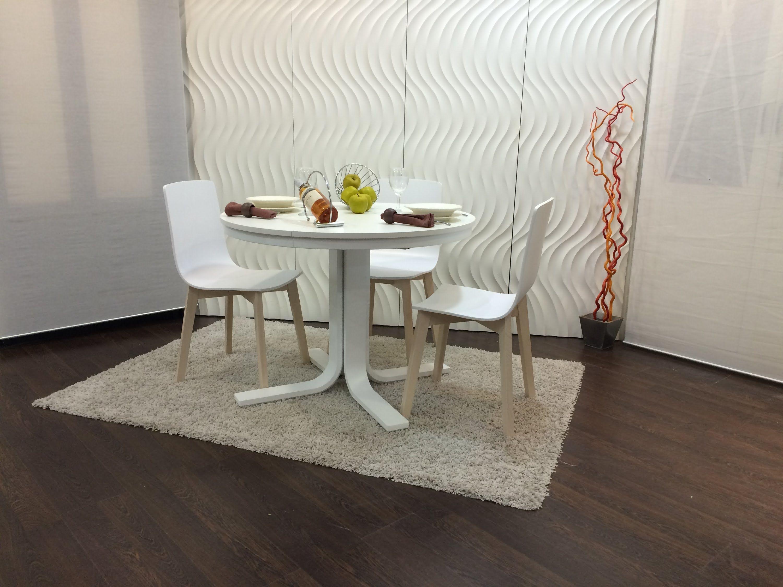 Mesa redonda rhin extensible blanca ondarreta mesas for Mesas de cocina redondas extensibles