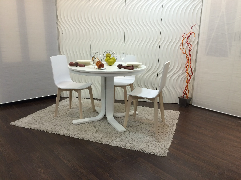 Mesa redonda rhin extensible blanca ondarreta mesas for Muebles aznar