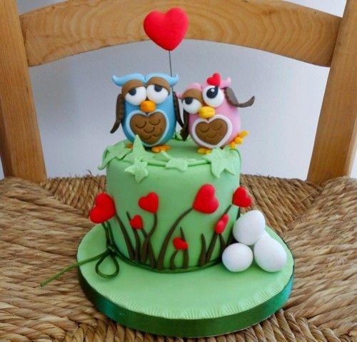 Owls in love cake Bufa Pinterest Owl Cake and Homemade