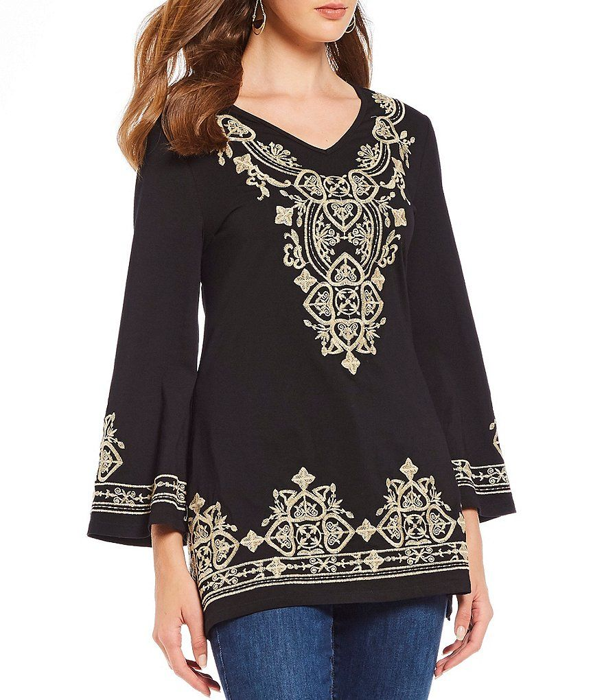 4c04b8fdf323dd Calessa Bell Sleeve Embroidered Tunic#Bell, #Calessa, #Sleeve ...