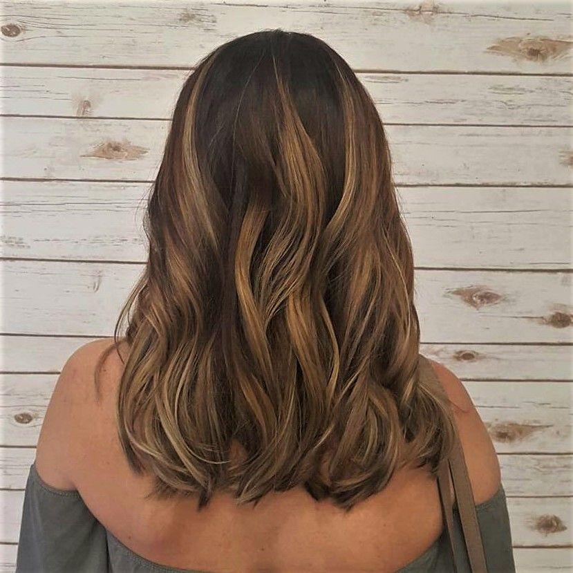 Warm Caramel Honey Balayage On Shoulder Length Hair Hair Lengths Honey Balayage Short Hair Balayage