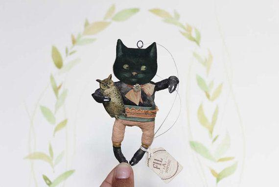 Fil À Sophie vintage inspired black cat harvest spun cotton ornament  - jack o lantern Nostalgische Wattefigur schwarze Katze von FilASophie Herbst Dekoration