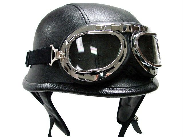 2bfabc989a5 Biker WWII Style DOT Black Leather German Motorcycle HALF Helmet w Pilot  Goggles