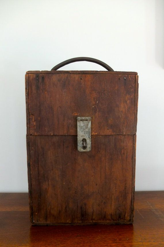 Vintage Wooden Toolbox Copper Handle Industrial by StrangeFits, $35.00