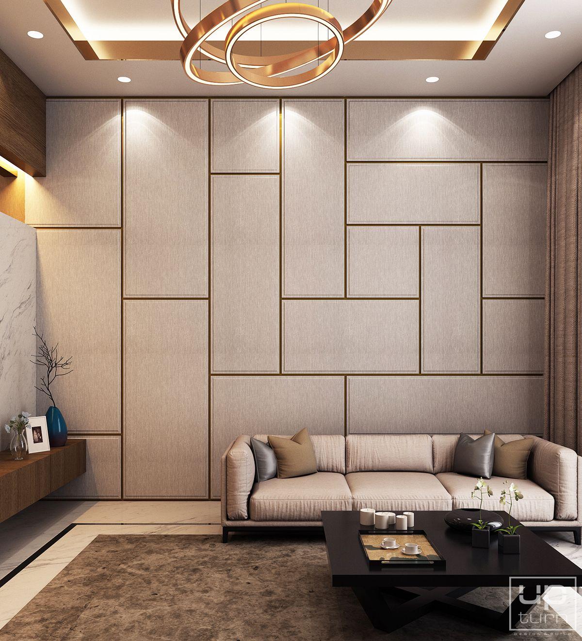 Luxury Modern Villa   Qatar on Behance   Interior wall design, Modern living room interior ...