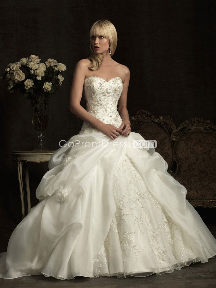Ball gown organza beaded ruffles draping wedding dress picture