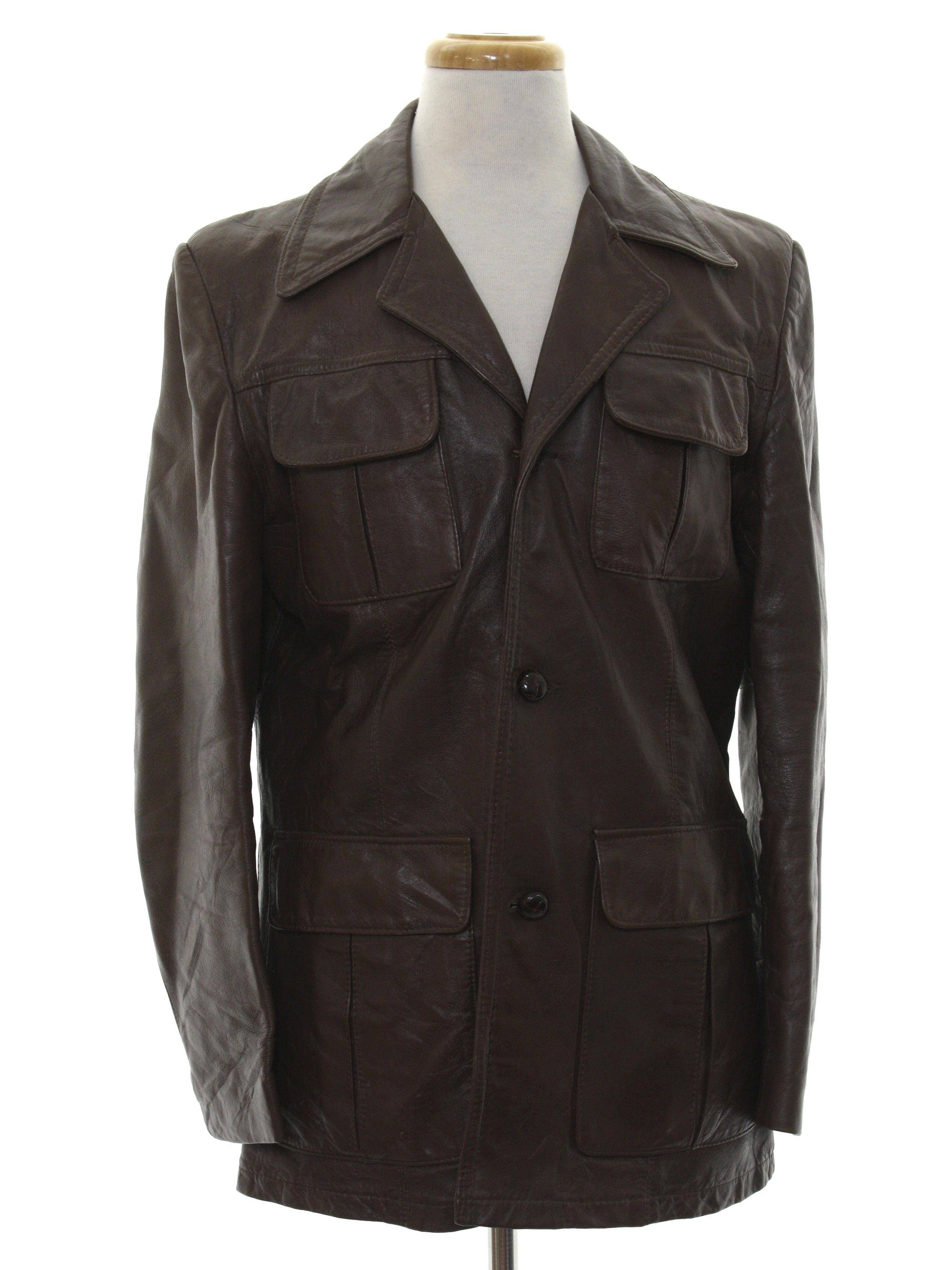 a609dd4e831 1970s Vintage Leather Jacket: 70s -Rice Sports Wear- Mens dark brown  background leather longsleeve 3 button front closure leather car coat jacket .