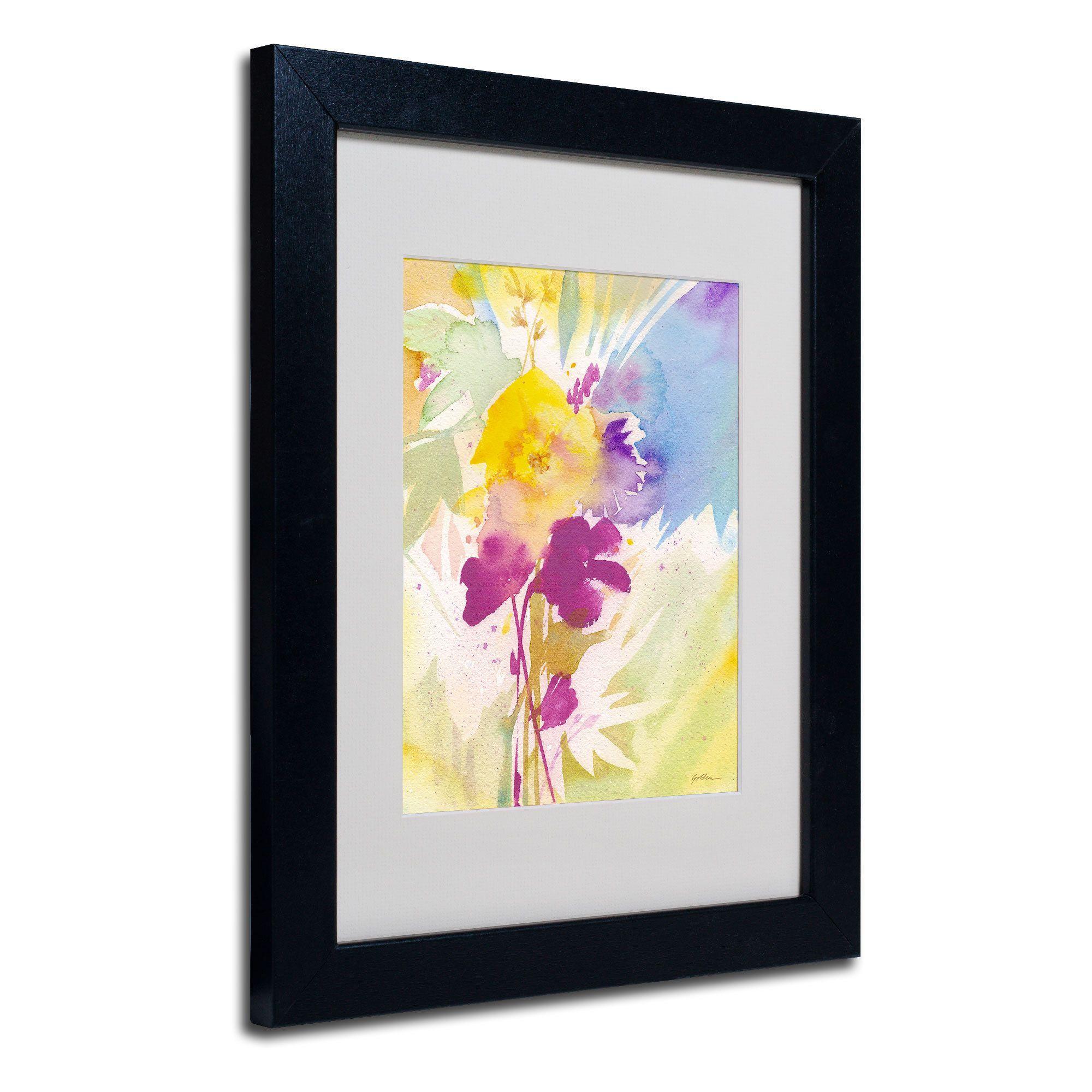 Sheila golden uwildflower bouquet u white matte framed wall art