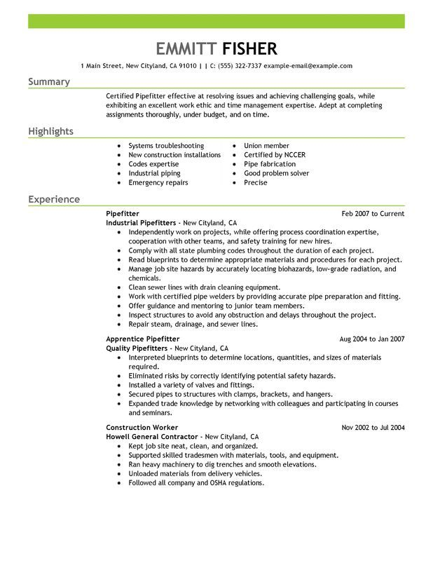 Pipefitter Resume Sample resume\u0027 examples Pinterest Sample