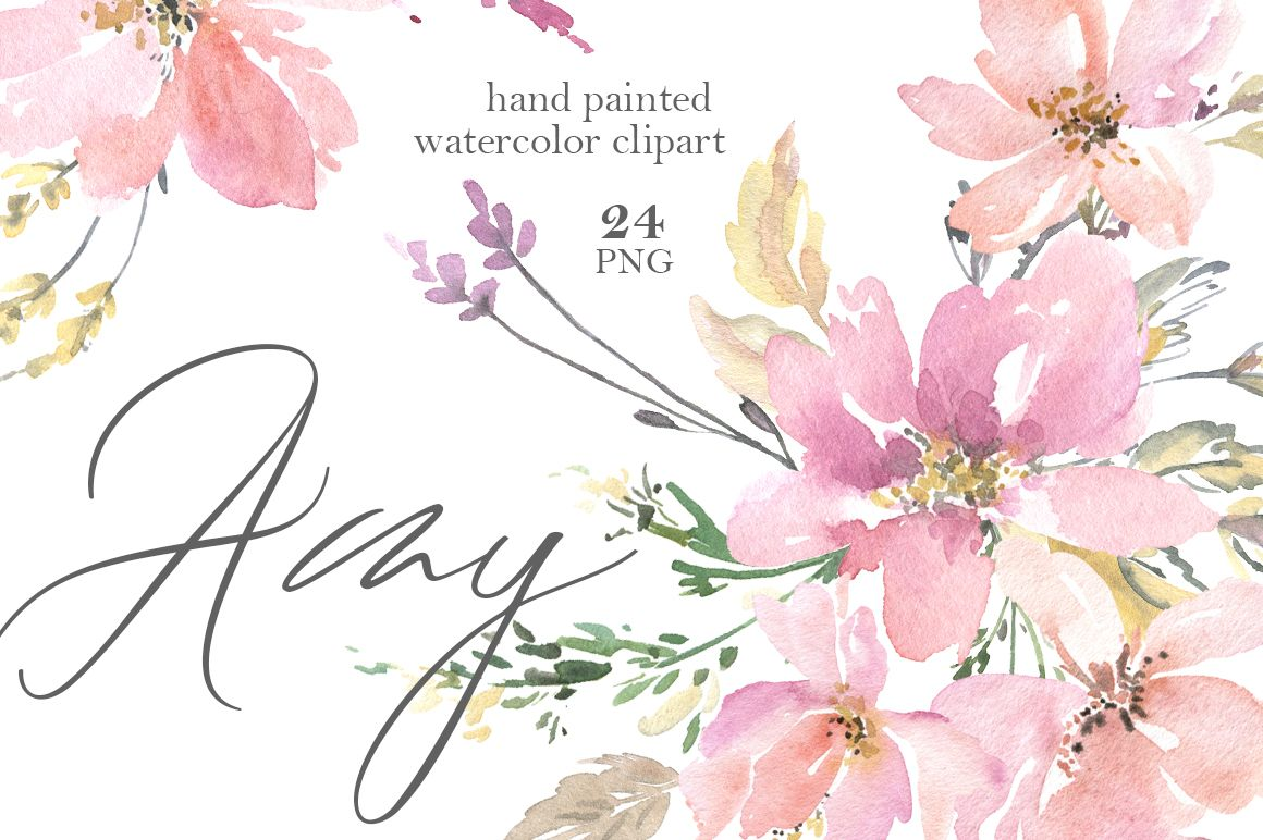 Pink watercolor flowers bouquets frames png in idea
