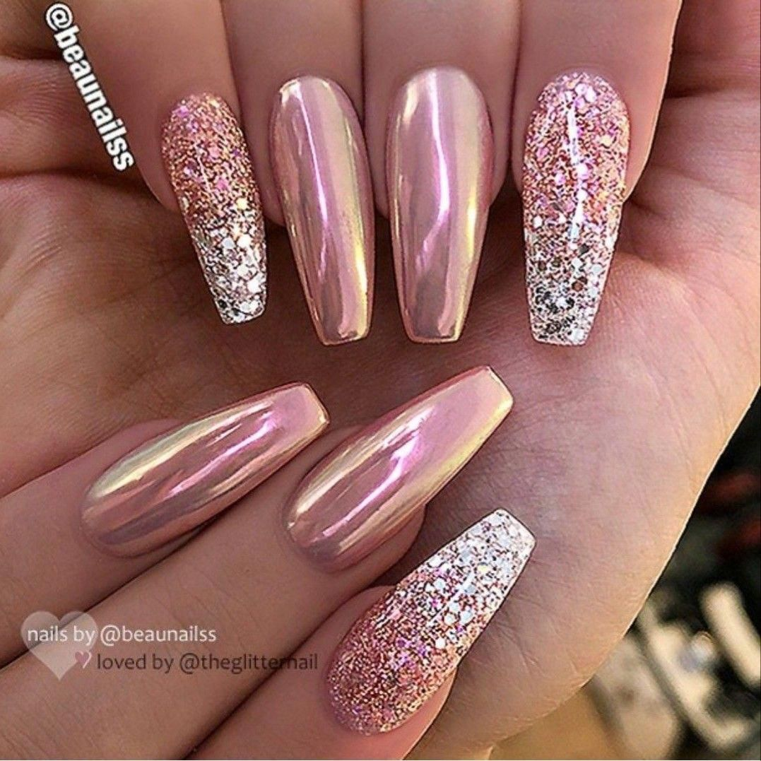 Rose Gold Pink Chrome And Glitter Silver Ombre Nail Ballerina Shape Gel Nail Art Design Beautifulacrylic Pink Nail Art Designs Rose Gold Nails Chrome Nail Art
