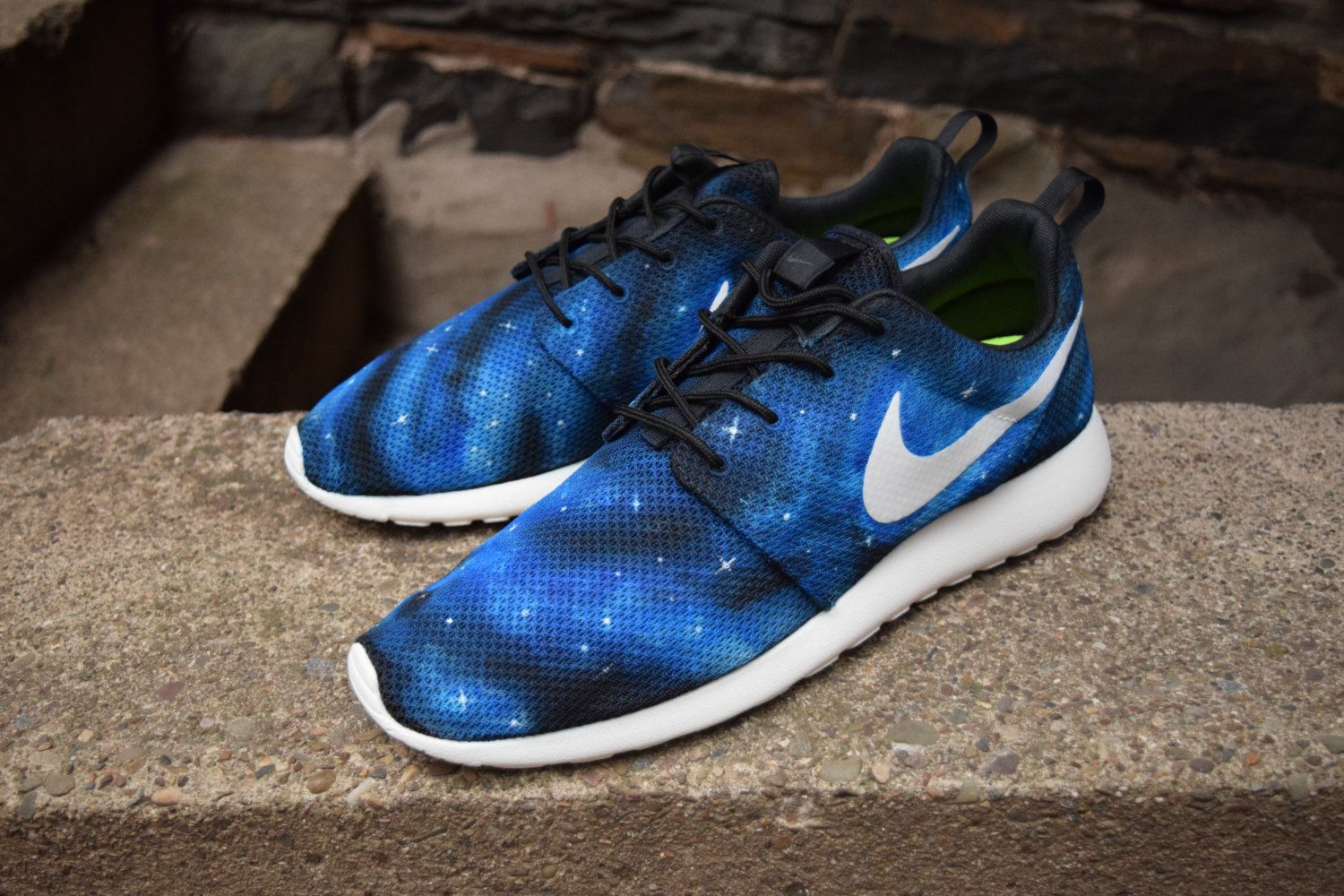 the best attitude 7c7ad 5cb2e Galaxy Nike Roshe Run Galaxy Shoes. Nike Roshe One. Galaxy Nike Roshes.  Blue galaxy, green galaxy etc! Nike sign will be BLACK Not Painted by  HJArtistry on ...