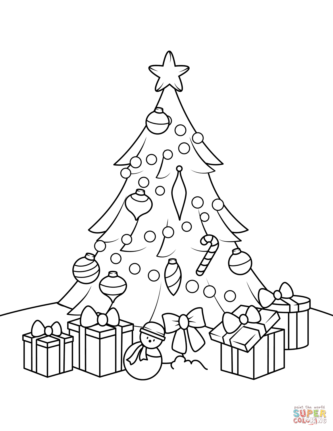 Christmas Tree With Presents Coloring Page From Category Select 27968 Printable Crafts