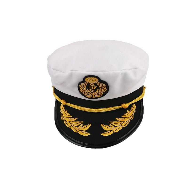 Adult fancy Dress White Yacht Boat Captain Hat Navy Cap Sailor Costume Satin Hat
