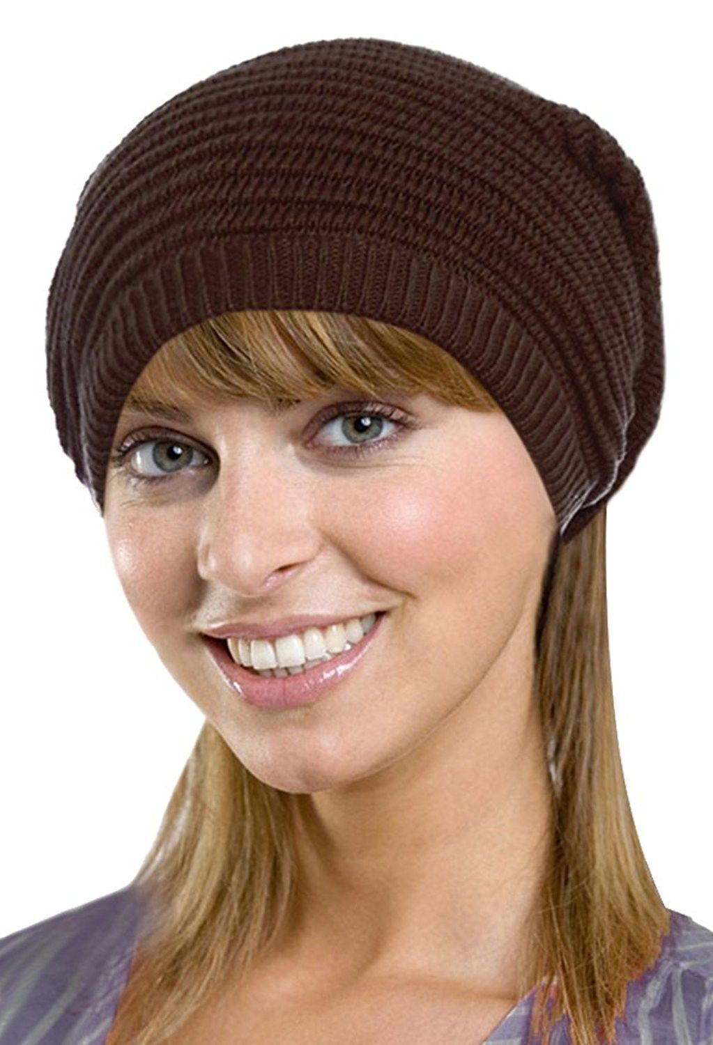 ea5aba495c0 Men   Women s Retro Oversized Slouchy Winter Knit Beanie Hat - Solid Brown  - CR186WQL04N - Hats   Caps