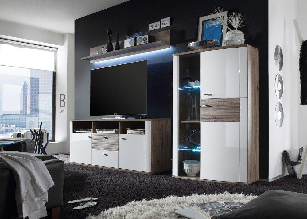 Wohnwand Modena Sanremo Eiche mit Weiß HG 20613 Buy now at   - wohnzimmer wohnwand weis