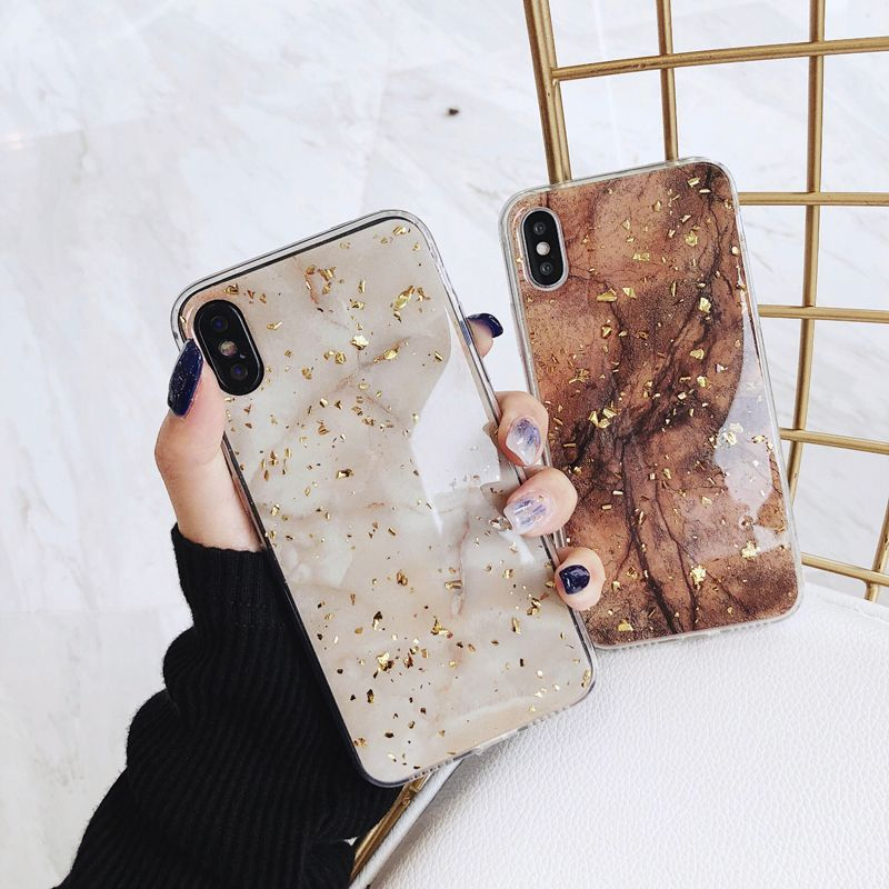 Luxury Gold Foil Bling Marble Iphone Case Brown For Iphone 6