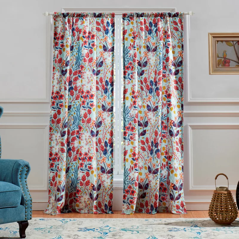 Charlton Home Koepp Floral Semi Sheer Rod Pocket Curtain Panels
