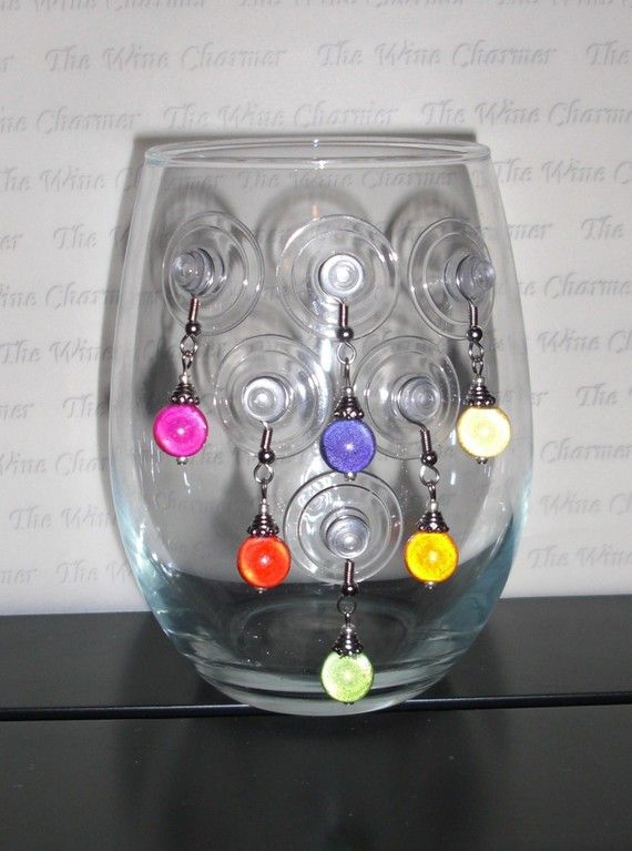 Items Similar To The Crowd Favorite Stemless Glass Wine Charms Set Of 6 On Etsy Wine Charms Diy Glass Charm Diy Wine Glass Crafts