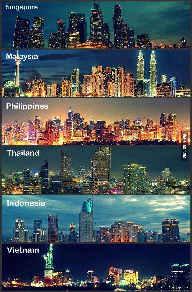 Southeast asian city skylines