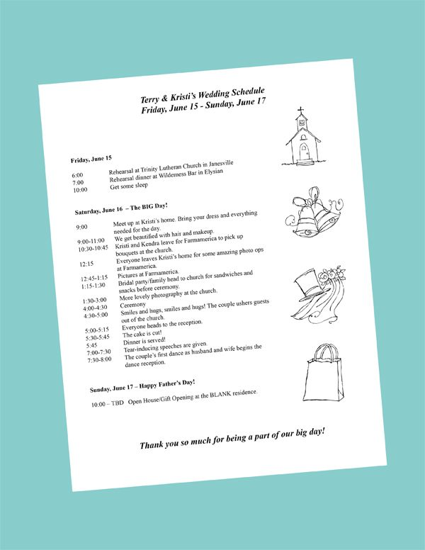 Wedding day itinerary on pinterest wedding day schedule for Bridal shower itinerary template