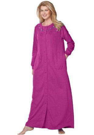 Only Necessities Plus Size Petite Plus Snap Front A Line Fleece Robe