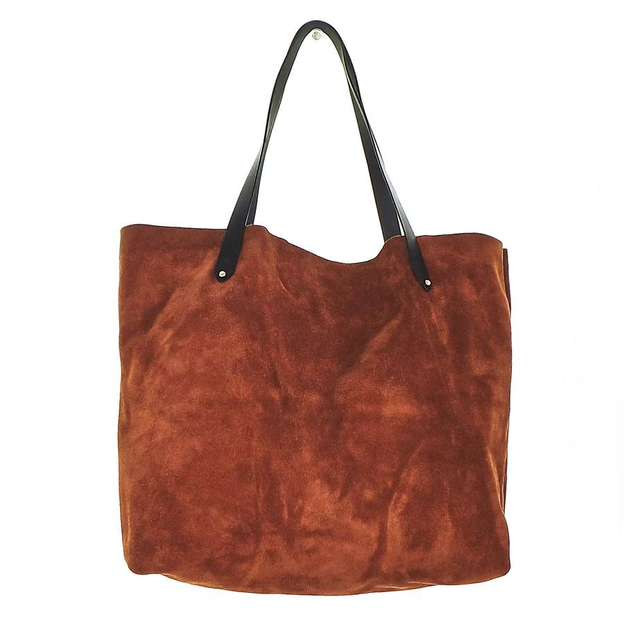 Charlie 68 Tan Suede Front 199 Large Tote Bag Unlined Raw Edges One Internal Pocket Bag Is Made With Japanese Cowhide Suede Inc Genuine Leather Totes