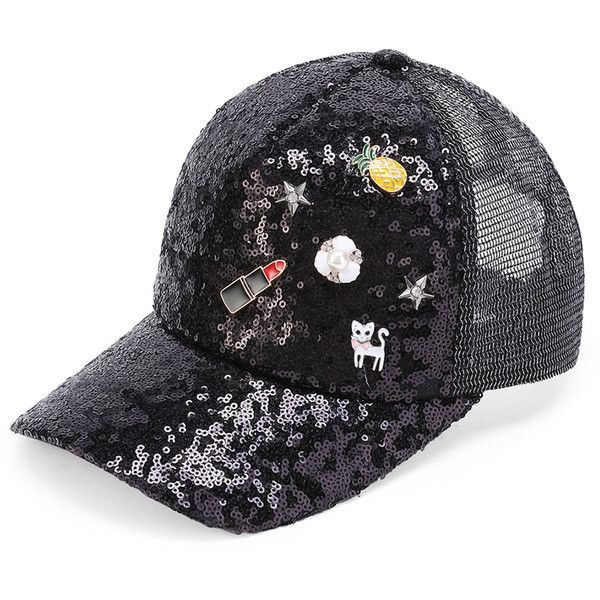 8098ed0abe18a2 Pineapple And Cat Detail Sequin Baseball Cap (1,215 INR) ❤ liked on Polyvore  featuring accessories, hats, pineapple baseball hat, cat baseball hat, ...