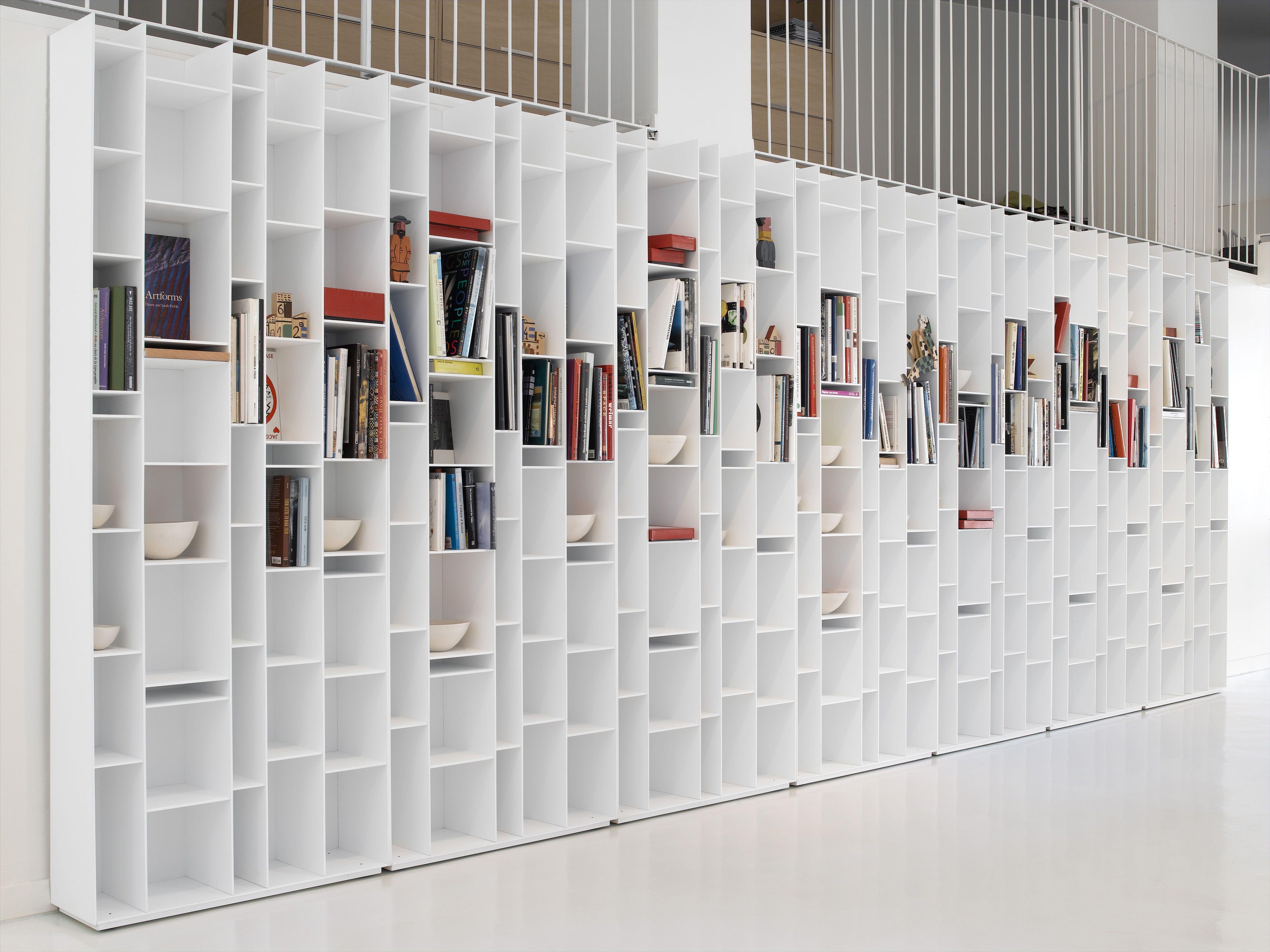Biblioth Que Random Blanc Laqu Mdf Italia D Coration Et  # Meuble Bibliotheque Laque Blanc