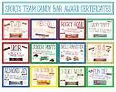 Sports Team Candy Bar Awards; Sports Players Candy Bar Award Certificates; Individual Candy Bar Award Certificates; Award Ceremony #employeeappreciationideas