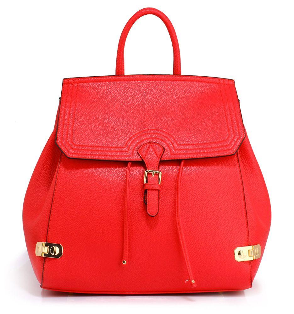 788557ff3e151 ... Torby i plecaki użytkownika Divine Wear. Skórzany plecak z zapięciem  czerwony