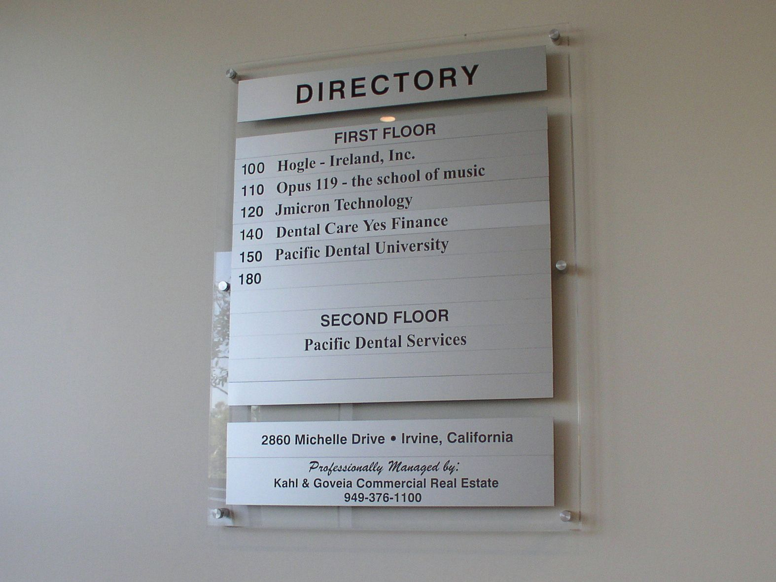 Contemporary Acrylic Directory Directory Signage Directory Signs Office Signage