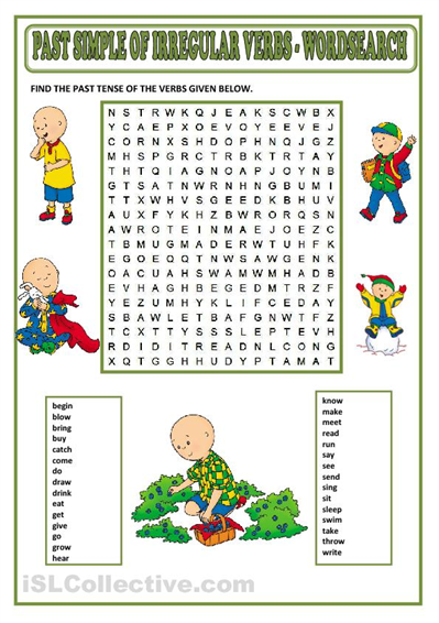 Past simple wordsearch for ESL students  | ENGLISH EXERCISES