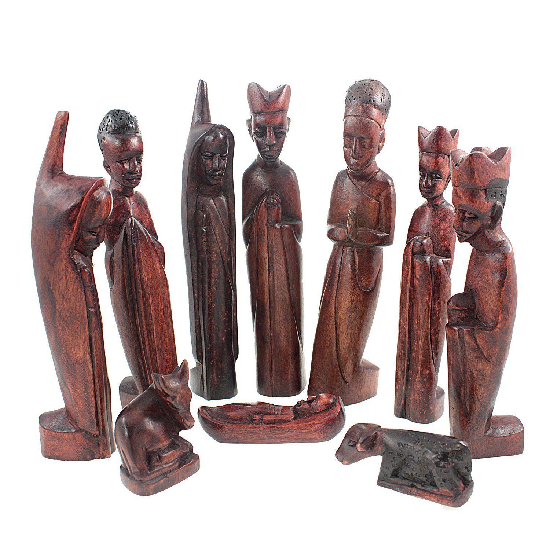 jacaranda wood african nativity scene set handmade in uganda - Wooden Nativity Set