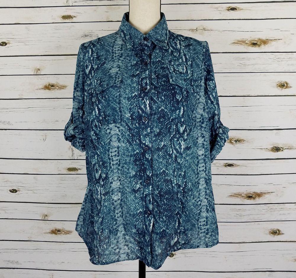d9caea494 Zac & Rachel Top Womens Size 1X Blue Black Snake Button Front 3/4 Sleeves  Cotton #ZacRachel #ButtonDownShirt #Casual