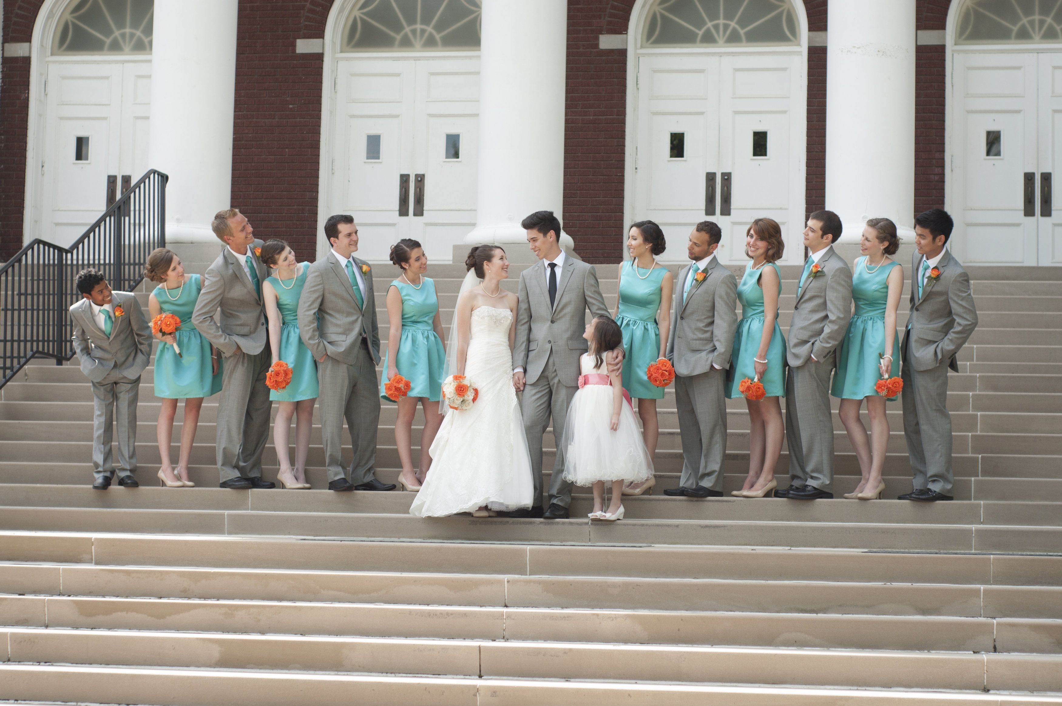 Our wedding party teal 1950s style bridesmaids dresses grey our wedding party teal 1950s style bridesmaids dresses grey suits coral orange ombrellifo Image collections