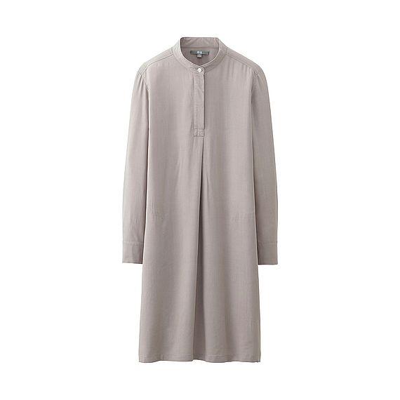 Women Rayon Stand Collar Long Sleeve Dress Dresses