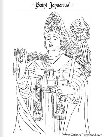 Saint Januarius Catholic coloring page: Feast day is